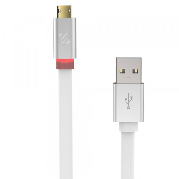 FlatOut LED 0.9m Charge & Sync Cable with LED Indicator for Micro USB devices - White