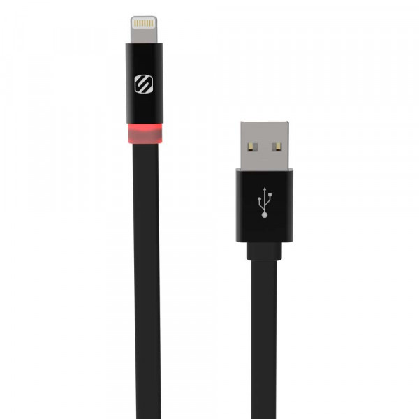 FlatOut LED 0.9m Charge & Sync Cable with LED Indicator for Lightning devices - Black