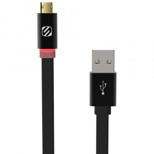 FlatOut LED 0.9m Charge & Sync Cable with LED Indicator for Micro USB devices - Black