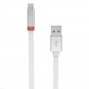 FlatOut LED 0.9m Charge & Sync Cable with LED Indicator for Lightning devices - White