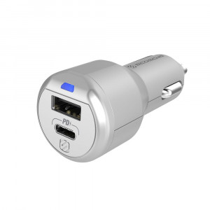 PowerVolt Delivery 3.0 USB-C / USB-A Car Charger Silver